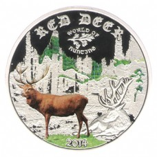 Монета Острова Кука 2 доллара 2014 Олень