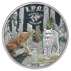 Монета Острова Кука 2 доллара 2015 Рысь